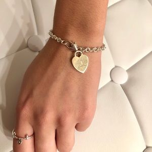 Judith Jack Engraved Heart Charm Bracelet 925